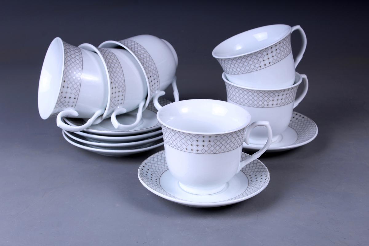 Набор чайный Olaff, 12 предметов. JDFS-12RWB-005JDFS-12RWB-005Набор чайный, 12 предметов: 6 чашек 220 мл + 6 блюдец, декор серебро, круглая подарочная упаковка с окошком