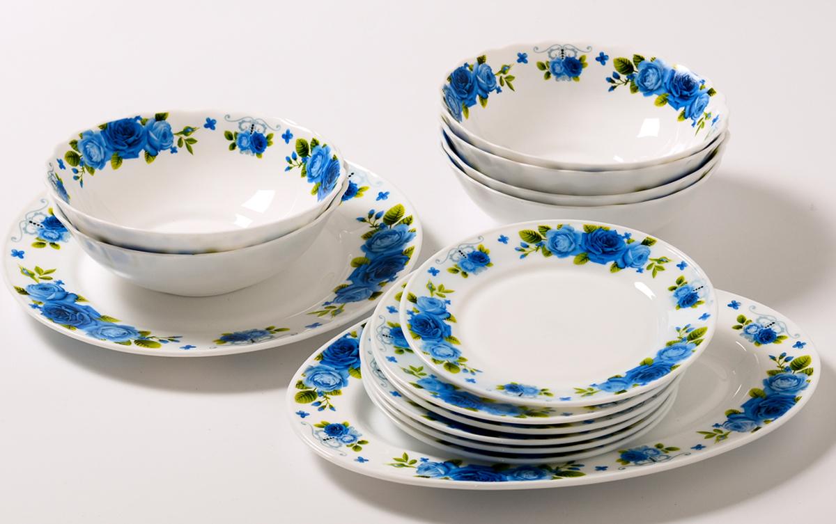 Набор столовой посуды Olaff Пасадена, 14 предметов. JY-R-14-53JY-R-14-53Набор столовый 14 предметов: тарелка плоская 175 мм - 6 шт, тарелка плоская 254 мм - 1 шт, салатник 750 мл - 6 шт, блюдо овальное 305 мм, цветная упаковка