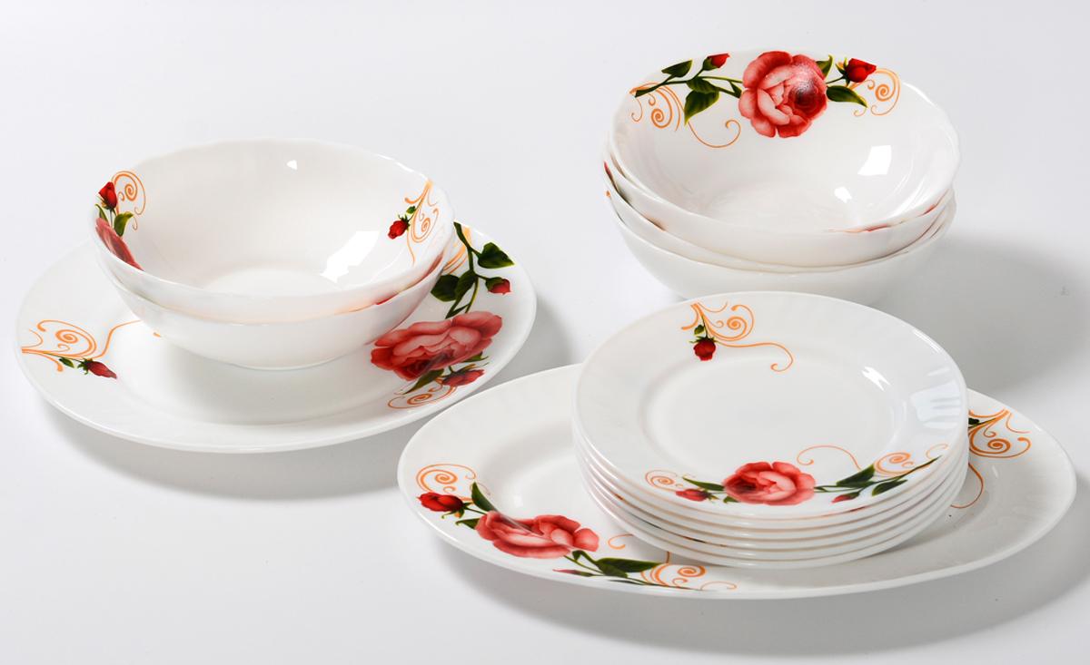 Набор столовой посуды Olaff Конфетти, 14 предметов. JY-R-14-54JY-R-14-54Набор Olaff Конфетти состоит из 1 обеденной тарелки, 6 десертных тарелок, 6 салатников и овального блюда. Изделия выполнены из высококачественной стеклокерамики и имеют яркий дизайн с изящным рисунком цветов. Посуда отличается прочностью, гигиеничностью и долгим сроком службы, она устойчива к появлению царапин и резким перепадам температур.Набор столовой посуды Olaff Конфетти - это не только яркий и полезный подарок для родных и близких, а также великолепное дизайнерское решение для вашей кухни или столовой. Можно мыть в посудомоечной машине и использовать в микроволновой печи. Диаметр обеденной тарелки (по верхнему краю): 25,4 см.Диаметр десертной тарелки (по верхнему краю): 17,5 см.Диаметр овального блюда: 30,5 см. Объем салатника: 750 мл.