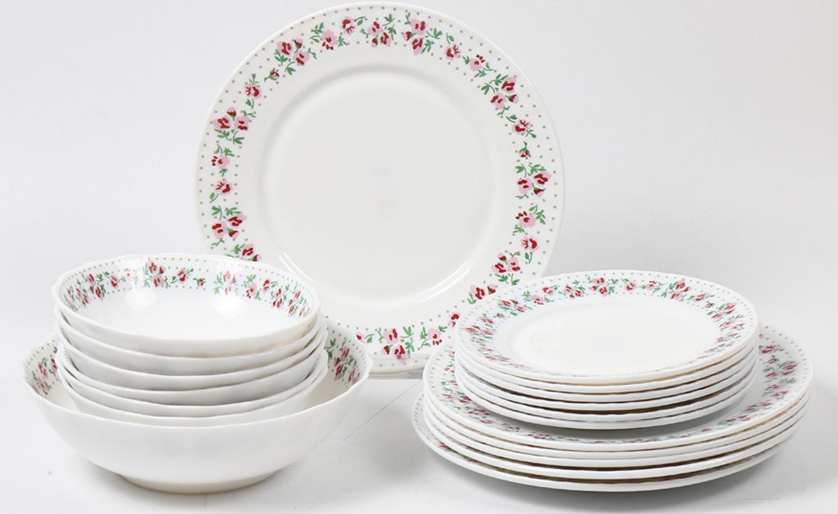 Набор столовой посуды Olaff Бетси, 19 предметов. JY-R-19S-60JY-R-19S-60Набор посуды из 19 предметов: плоская тарелка 175 мм - 6 шт, плоская тарелка 230 мм - 6 шт, салатник 450 мл - 6 шт, салатник 1100 мл - 1 шт, цветная упаковка