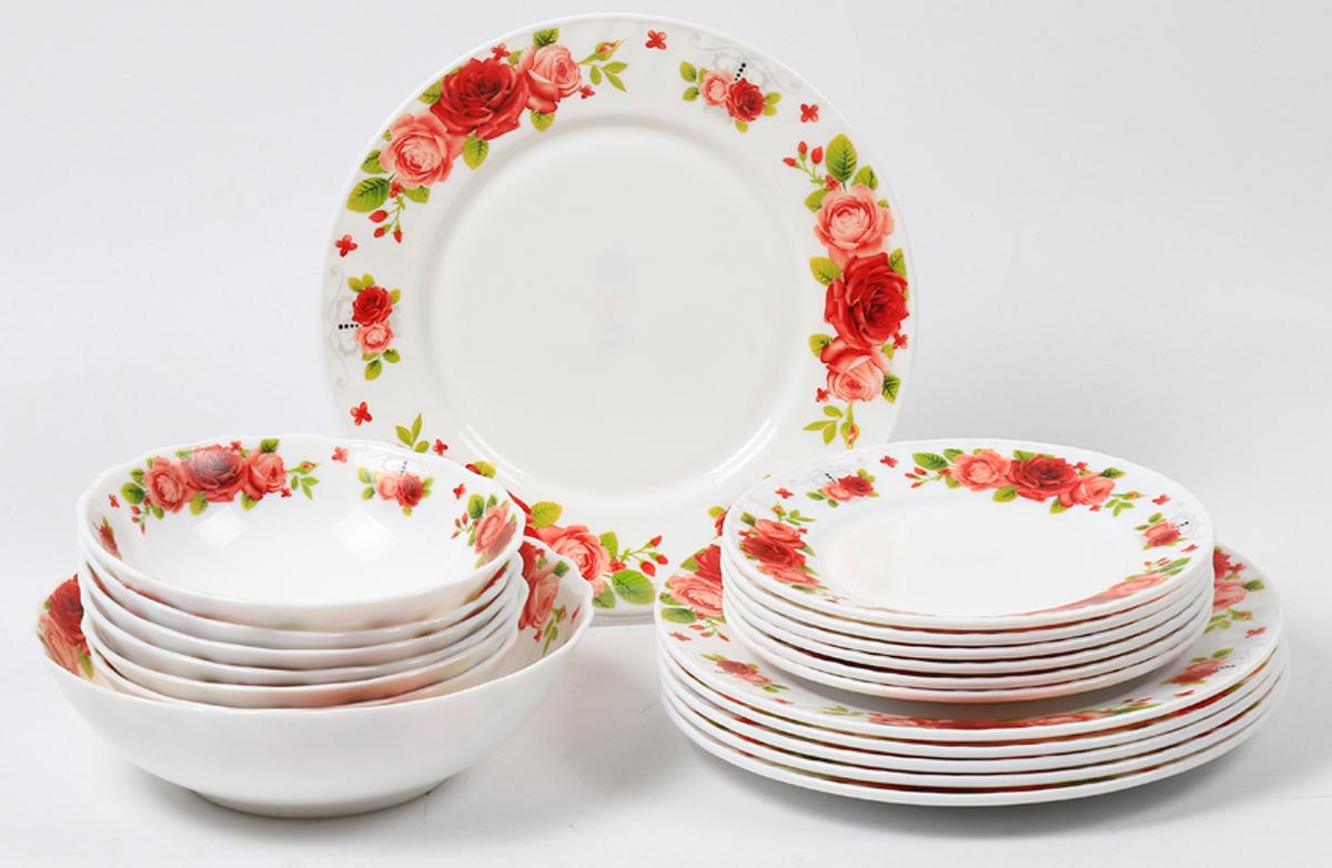 Набор столовой посуды Olaff Ричард, 19 предметов. JY-R-19S-61JY-R-19S-61Набор посуды из 19 предметов: плоская тарелка 175 мм - 6 шт, плоская тарелка 230 мм - 6 шт, салатник 450 мл - 6 шт, салатник 1100 мл - 1 шт, цветная упаковка