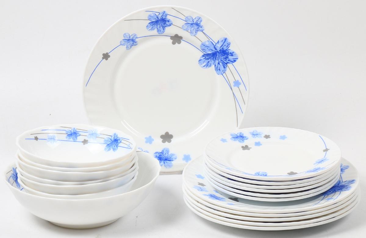 Набор столовой посуды Olaff Анника, 19 предметов. JY-R-19S-62JY-R-19S-62Набор посуды из 19 предметов: плоская тарелка 175 мм - 6 шт, плоская тарелка 230 мм - 6 шт, салатник 450 мл - 6 шт, салатник 1100 мл - 1 шт, цветная упаковка