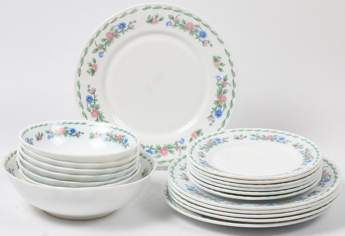 Набор столовой посуды Olaff Джульетта, 19 предметов. JY-R-19S-63JY-R-19S-63Набор посуды из 19 предметов: плоская тарелка 175 мм - 6 шт, плоская тарелка 230 мм - 6 шт, салатник 450 мл - 6 шт, салатник 1100 мл - 1 шт, цветная упаковка