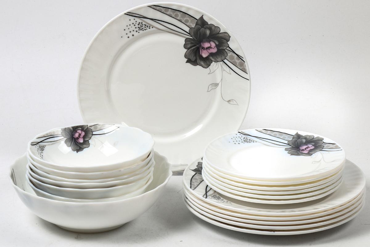 Набор столовой посуды Olaff Беатрис, 19 предметов. JY-R-19S-64JY-R-19S-64Набор посуды из 19 предметов: плоская тарелка 175 мм - 6 шт, плоская тарелка 230 мм - 6 шт, салатник 450 мл - 6 шт, салатник 1100 мл - 1 шт, цветная упаковка