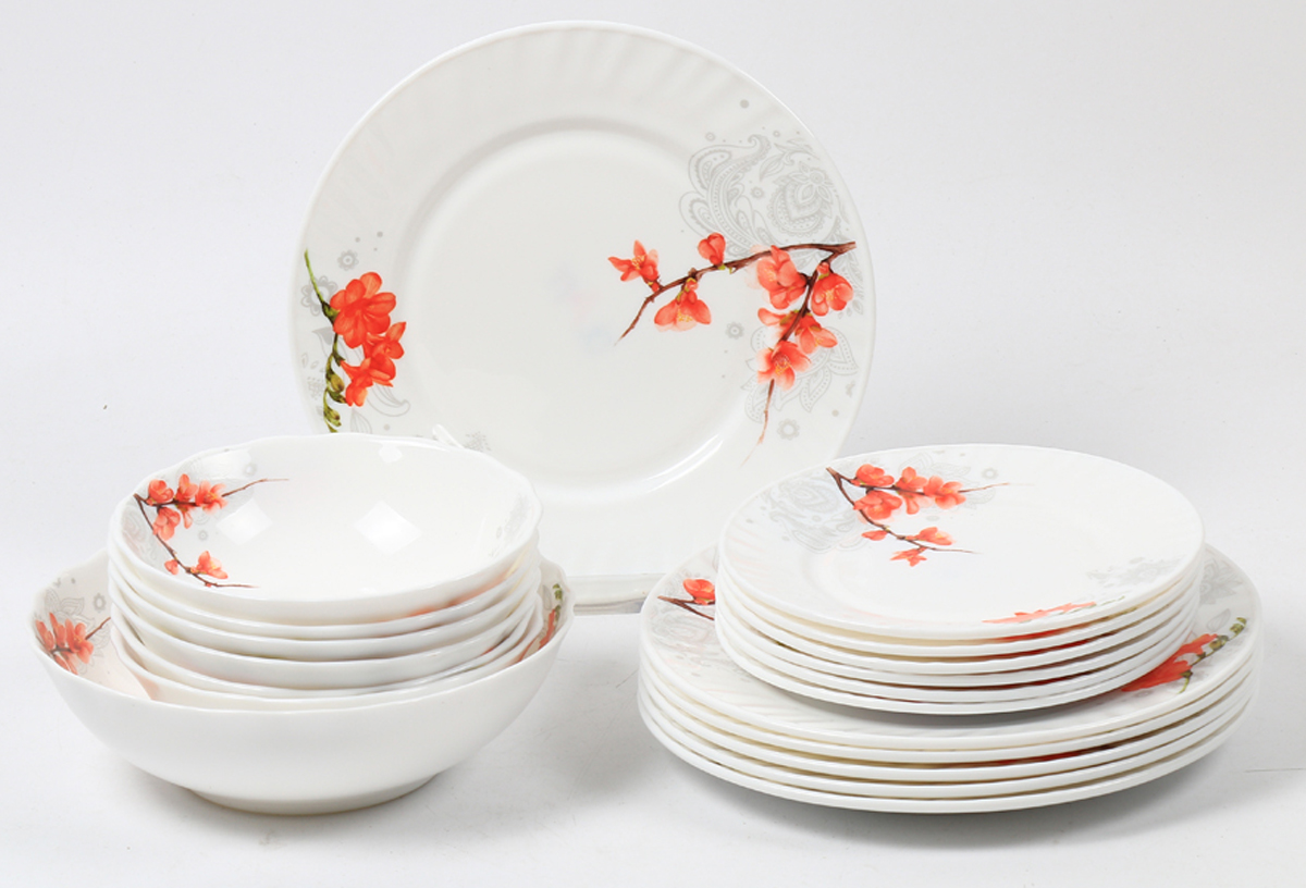 Набор столовой посуды Olaff Акира, 19 предметов. JY-R-19S-65JY-R-19S-65Набор посуды из 19 предметов: плоская тарелка 175 мм - 6 шт, плоская тарелка 230 мм - 6 шт, салатник 450 мл - 6 шт, салатник 1100 мл - 1 шт, цветная упаковка