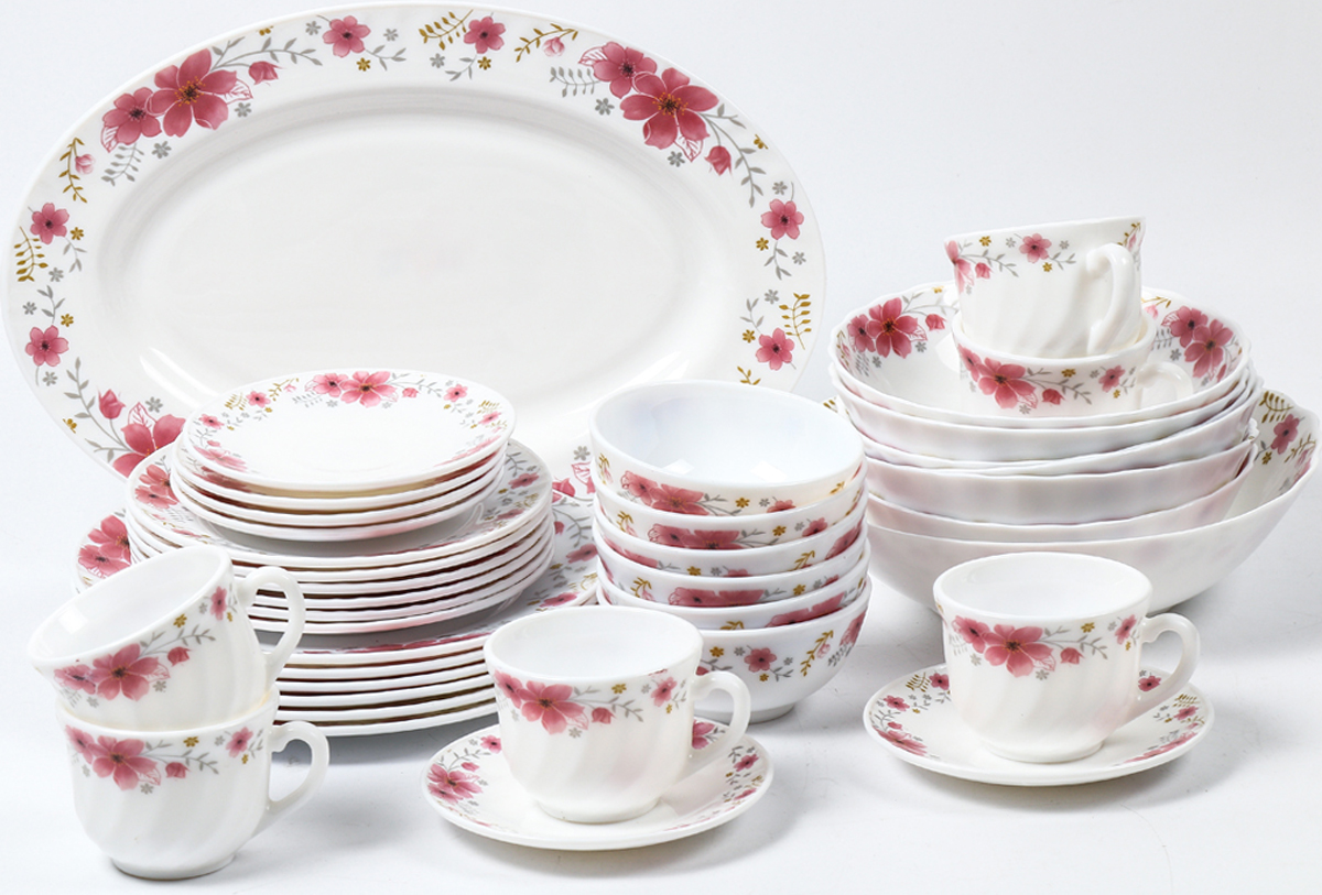 Набор столовой посуды Olaff Алькор, 38 предметов. JY-R-38-51JY-R-38-51Набор Olaff Алькор состоит из 6 обеденных тарелок, 6 десертных тарелок, 6 чашек, 6 блюдец, 13 салатников и овального блюда. Изделия выполнены из высококачественной стеклокерамики и имеют яркий дизайн с изящным рисунком цветов. Посуда отличается прочностью, гигиеничностью и долгим срокомслужбы, она устойчива к появлению царапин и резким перепадам температур. Набор столовой посуды Olaff Алькор - это не только яркий и полезный подарок для родныхи близких, а также великолепное дизайнерское решение для вашей кухни или столовой.Можно мыть в посудомоечной машине и использовать в микроволновой печи.Диаметр обеденной тарелки (по верхнему краю): 23 см. Диаметр десертной тарелки (по верхнему краю): 17,5 см. Диаметр овального блюда: 35,5 см.Диаметр блюдца: 14 см.Объем большого салатника: 1,4 л.Объем среднего салатника: 750 мл.Объем мелкого салатника: 250 мл.Объем чашки: 220 мл.