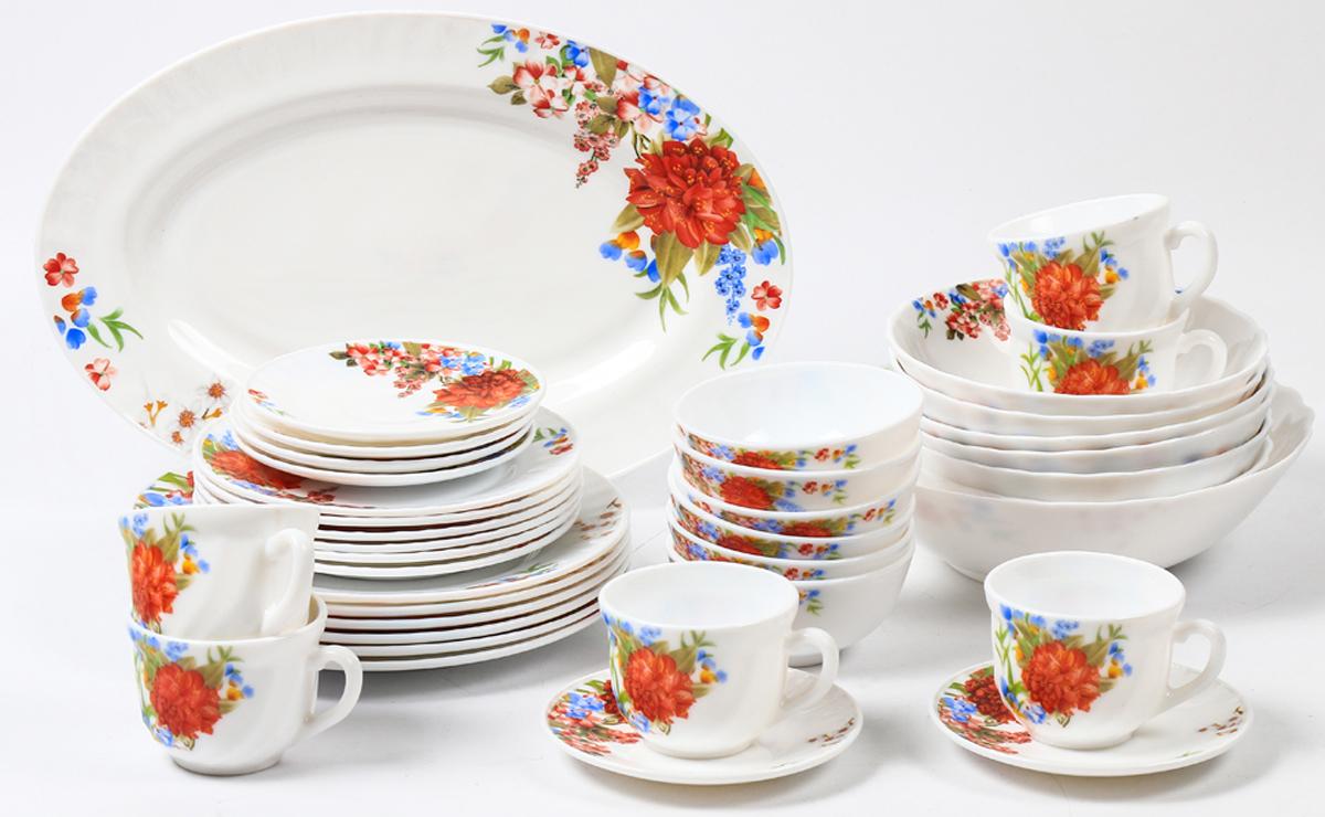 Набор столовой посуды Olaff Наранга, 38 предметов. JY-R-38-52JY-R-38-52Набор Olaff Наранга состоит из 6 обеденных тарелок, 6 десертных тарелок, 6 чашек, 6 блюдец, 13 салатников и овального блюда. Изделия выполнены из высококачественной стеклокерамики и имеют яркий дизайн с изящным рисунком цветов. Посуда отличается прочностью, гигиеничностью и долгим сроком службы, она устойчива к появлению царапин и резким перепадам температур.Набор столовой посуды Olaff Наранга - это не только яркий и полезный подарок для родных и близких, а также великолепное дизайнерское решение для вашей кухни или столовой. Можно мыть в посудомоечной машине и использовать в микроволновой печи. Диаметр обеденной тарелки (по верхнему краю): 23 см.Диаметр десертной тарелки (по верхнему краю): 17,5 см.Диаметр овального блюда: 35,5 см. Диаметр блюдца: 14 см. Объем большого салатника: 1,4 л. Объем среднего салатника: 750 мл. Объем мелкого салатника: 250 мл. Объем чашки: 220 мл.