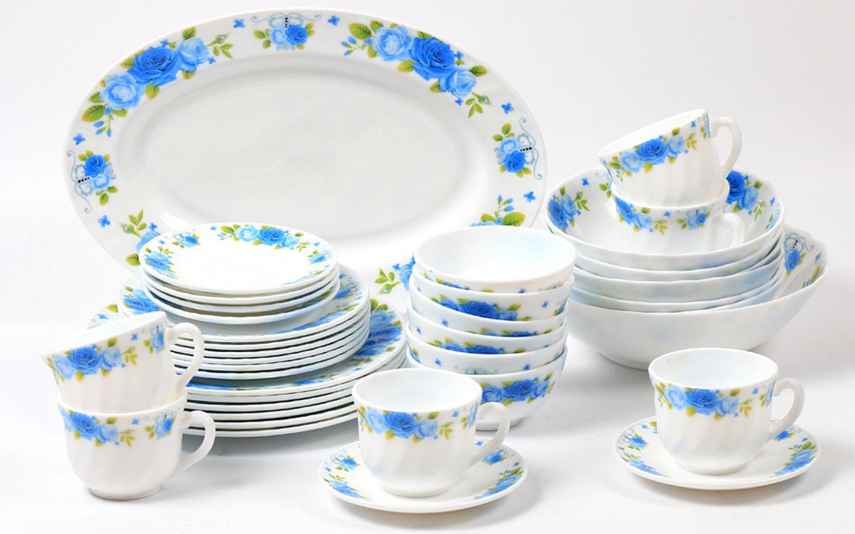 Набор столовой посуды Olaff Пасадена, 38 предметов. JY-R-38-531228238Набор Olaff Пасадена состоит из 6 обеденных тарелок, 6 десертных тарелок, 6 чашек, 6 блюдец, 13 салатников и овального блюда. Изделия выполнены из высококачественной стеклокерамики и имеют яркий дизайн с изящным рисунком цветов. Посуда отличается прочностью, гигиеничностью и долгим сроком службы, она устойчива к появлению царапин и резким перепадам температур.Набор столовой посуды Olaff Пасадена - это не только яркий и полезный подарок для родных и близких, а также великолепное дизайнерское решение для вашей кухни или столовой. Можно мыть в посудомоечной машине и использовать в микроволновой печи. Диаметр обеденной тарелки (по верхнему краю): 23 см.Диаметр десертной тарелки (по верхнему краю): 17,5 см.Диаметр овального блюда: 35,5 см. Диаметр блюдца: 14 см. Объем большого салатника: 1,4 л. Объем среднего салатника: 750 мл. Объем мелкого салатника: 250 мл. Объем чашки: 220 мл.