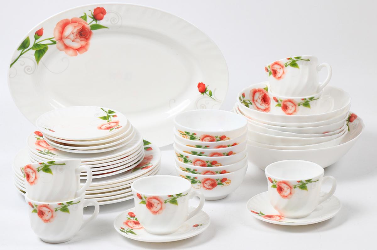 Набор столовой посуды Olaff Конфетти, 38 предметовJY-R-38-54Набор Olaff Конфетти состоит из 6 обеденных тарелок, 6 десертных тарелок, 6 суповых тарелок, 6 чашек, 6 блюдец, 6 мелких салатников, одного большого салатника и овального блюда. Изделия выполнены из высококачественной стеклокерамики и имеют яркий дизайн с изящным рисунком цветов. Посуда отличается прочностью, гигиеничностью и долгим сроком службы, она устойчива к появлению царапин и резким перепадам температур. Набор столовой посуды Olaff Конфетти - это не только яркий и полезный подарок для родных и близких, а также великолепное дизайнерское решение для вашей кухни или столовой.Можно мыть в посудомоечной машине и использовать в микроволновой печи.Диаметр обеденной тарелки (по верхнему краю): 23 см. Диаметр десертной тарелки (по верхнему краю): 17,5 см. Диаметр овального блюда: 35,5 см.Объем суповой тарелки: 750 мл.Объем большого салатника (по верхнему краю): 1,4 л.Объем мелкого салатника (по верхнему краю): 250 мл.Диаметр блюдца (по верхнему краю): 14 см.Объем чашки: 220 мл.
