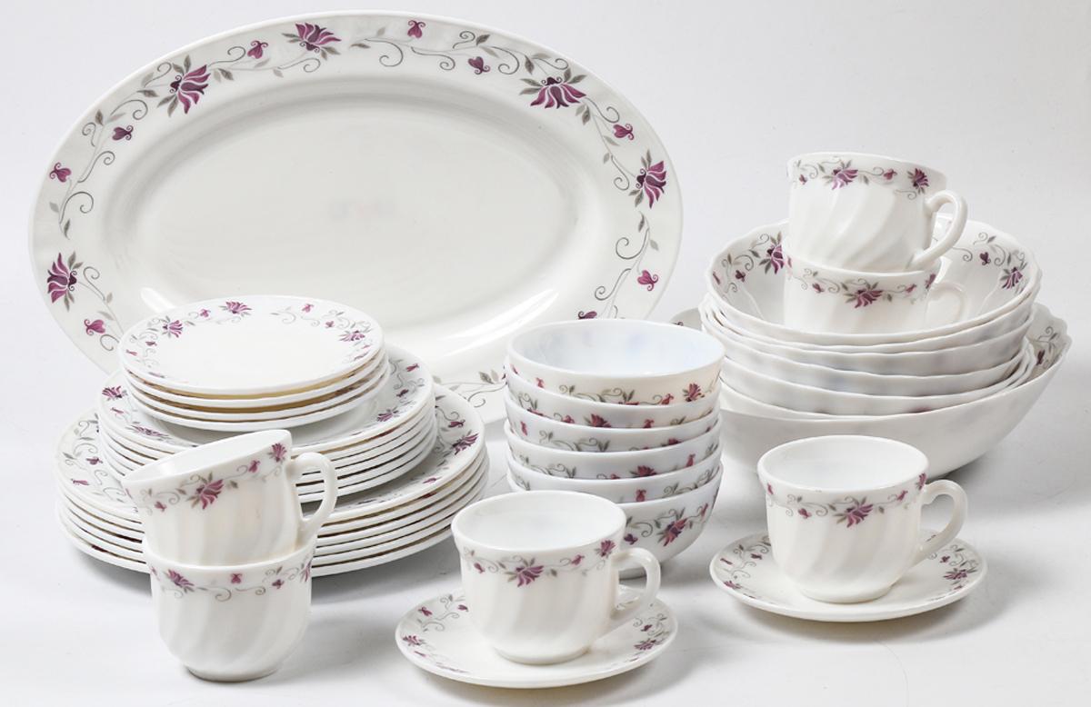 Набор столовой посуды Olaff Эстелла, 38 предметов. JY-R-38-55JY-R-38-55Набор Olaff Эстелла состоит из 6 обеденных тарелок, 6 десертных тарелок, 6 чашек, 6 блюдец, 13 салатников и овального блюда. Изделия выполнены из высококачественной стеклокерамики и имеют яркий дизайн с изящным рисунком цветов. Посуда отличается прочностью, гигиеничностью и долгим сроком службы, она устойчива к появлению царапин и резким перепадам температур.Набор столовой посуды Olaff Эстелла - это не только яркий и полезный подарок для родных и близких, а также великолепное дизайнерское решение для вашей кухни или столовой. Можно мыть в посудомоечной машине и использовать в микроволновой печи. Диаметр обеденной тарелки (по верхнему краю): 23 см.Диаметр десертной тарелки (по верхнему краю): 17,5 см.Диаметр овального блюда: 35,5 см. Диаметр блюдца: 14 см. Объем большого салатника: 1,4 л. Объем среднего салатника: 750 мл. Объем мелкого салатника: 250 мл. Объем чашки: 220 мл.
