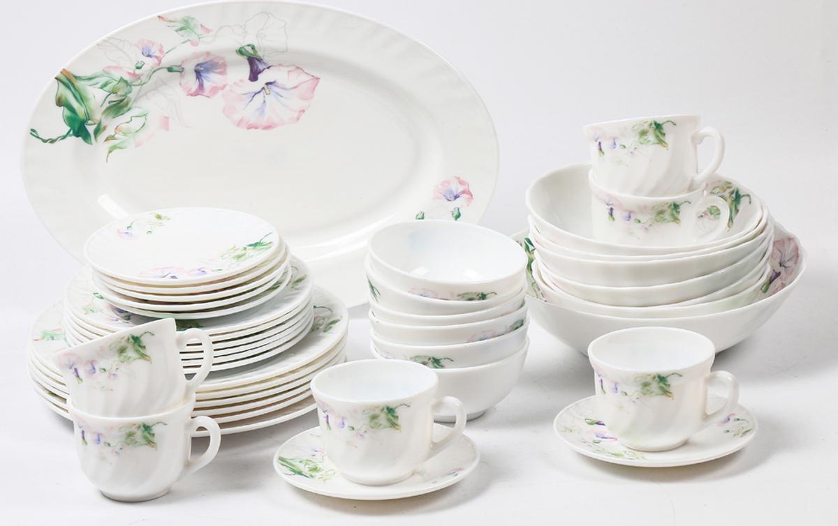 Набор столовой посуды Olaff Скарлет, 38 предметов. JY-R-38-57JY-R-38-57Набор Olaff Скарлет состоит из 6 обеденных тарелок, 6 десертных тарелок, 6 чашек, 6 блюдец, 13 салатников и овального блюда. Изделия выполнены из высококачественной стеклокерамики и имеют яркий дизайн с изящным рисунком цветов. Посуда отличается прочностью, гигиеничностью и долгим сроком службы, она устойчива к появлению царапин и резким перепадам температур.Набор столовой посуды Olaff Скарлет - это не только яркий и полезный подарок для родных и близких, а также великолепное дизайнерское решение для вашей кухни или столовой. Можно мыть в посудомоечной машине и использовать в микроволновой печи. Диаметр обеденной тарелки (по верхнему краю): 23 см.Диаметр десертной тарелки (по верхнему краю): 17,5 см.Диаметр овального блюда: 35,5 см. Диаметр блюдца: 14 см. Объем большого салатника: 1,4 л. Объем среднего салатника: 750 мл. Объем мелкого салатника: 250 мл. Объем чашки: 220 мл.