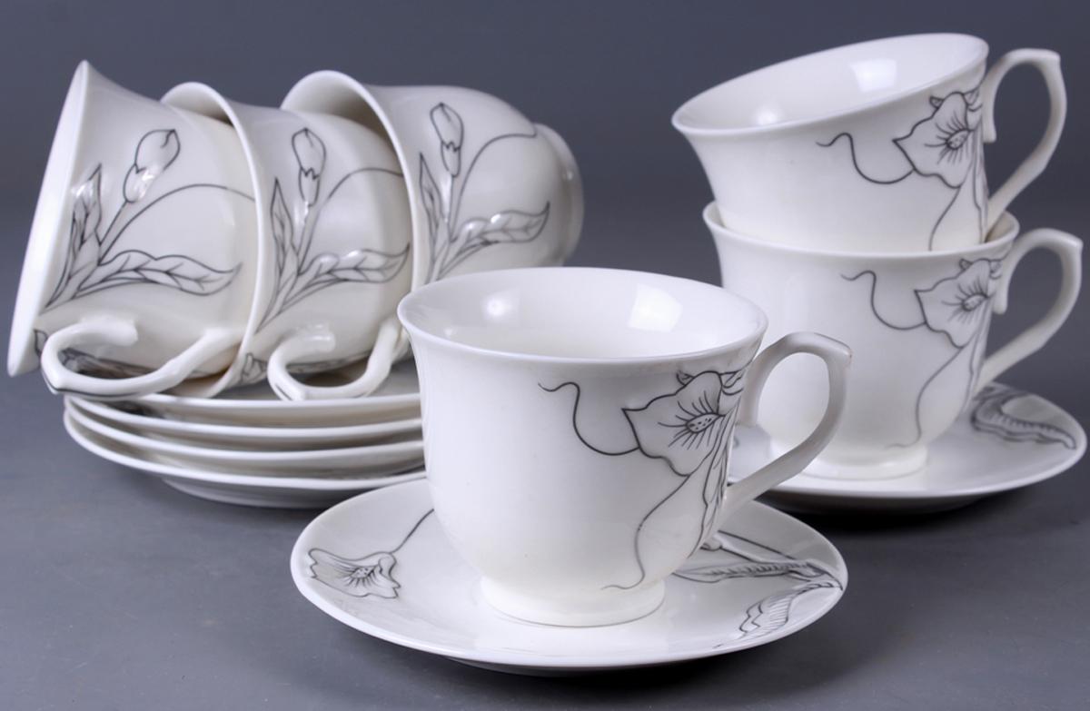 Набор чайный Olaff New Bone China. Цветы, 12 предметов. SC-EDB6GB-012SC-EDB6GB-012Набор чайный, 12 предметов: 6 чашек 220 мл + 6 блюдец, декор рельефный с золотом