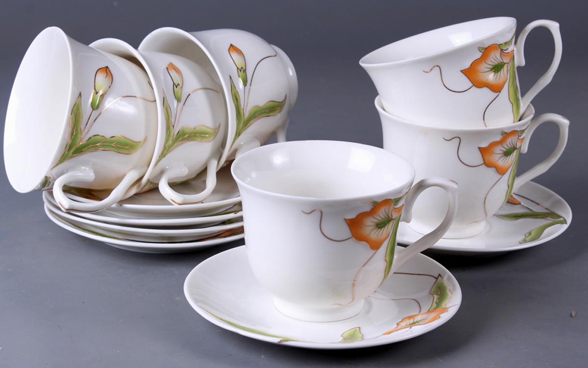 Набор чайный Olaff New Bone China. Цветы, 12 предметов. SC-EDB6GB-016SC-EDB6GB-016Набор чайный, 12 предметов: 6 чашек 220 мл + 6 блюдец, декор рельефный с золотом