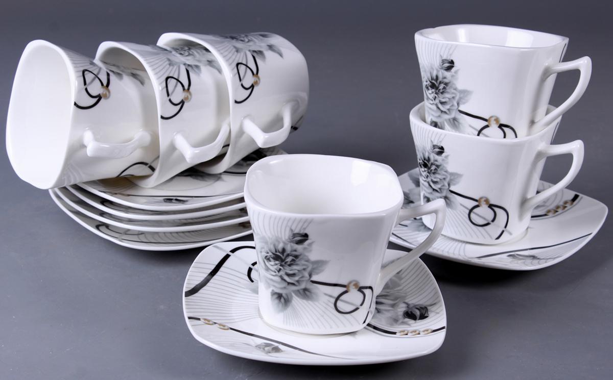Набор чайный Olaff New Bone China. Цветы, 12 предметов. SC-XSF6SB-031SC-XSF6SB-031Набор чайный, 12 предметов: 6 чашек 220 мл + 6 блюдец, прямоугольная подарочная коробка, цветочный декор