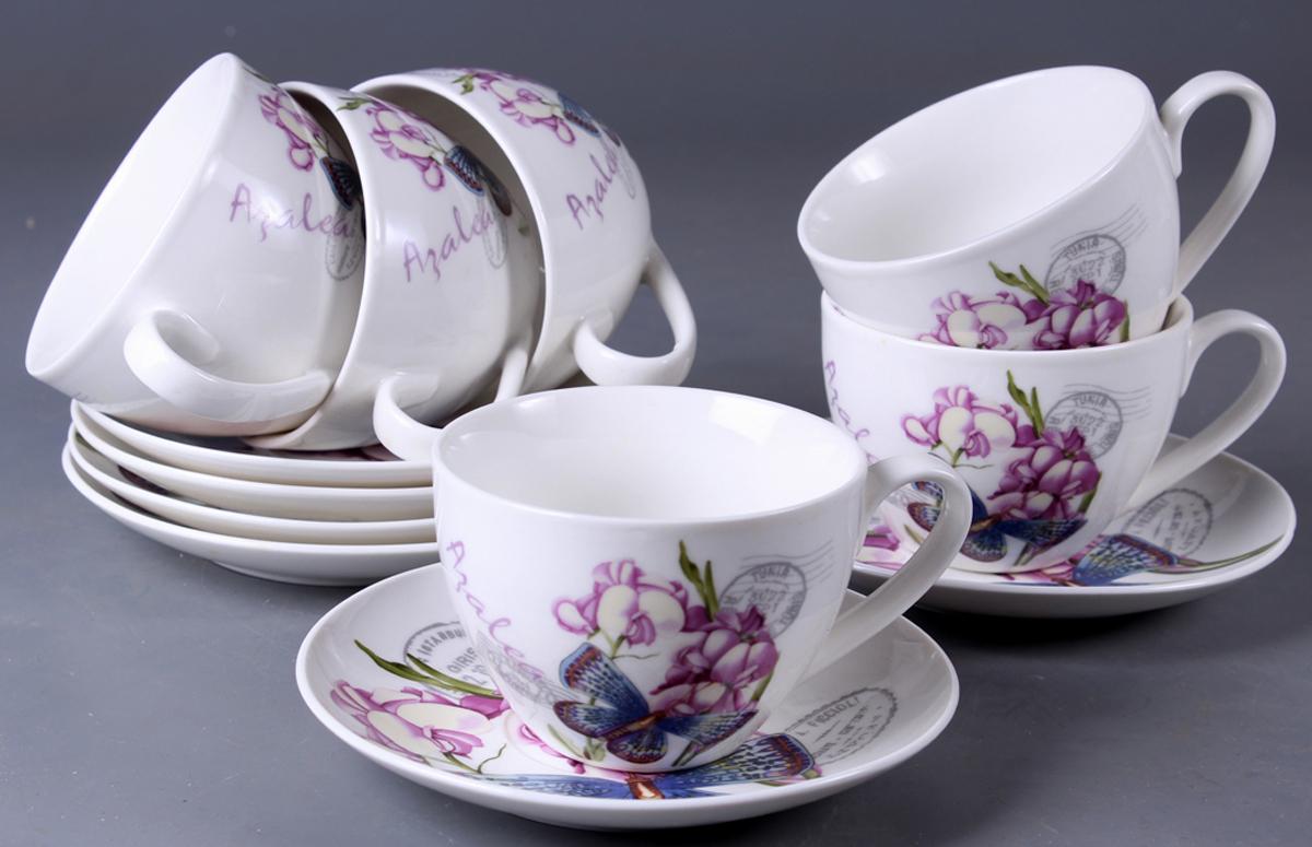 Набор чайный Olaff New Bone China. Цветы, 12 предметов. SC-ZB6HB-023SC-ZB6HB-023Набор чайный, 12 предметов: 6 чашек 220 мл + 6 блюдец, подарочная коробка в форме сердце, цветочный декор