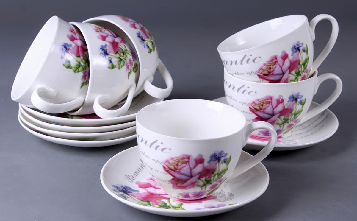 Набор чайный Olaff New Bone China. Цветы, 12 предметов. SC-ZB6HB-025SC-ZB6HB-025Набор чайный, 12 предметов: 6 чашек 220 мл + 6 блюдец, подарочная коробка в форме сердце, цветочный декор