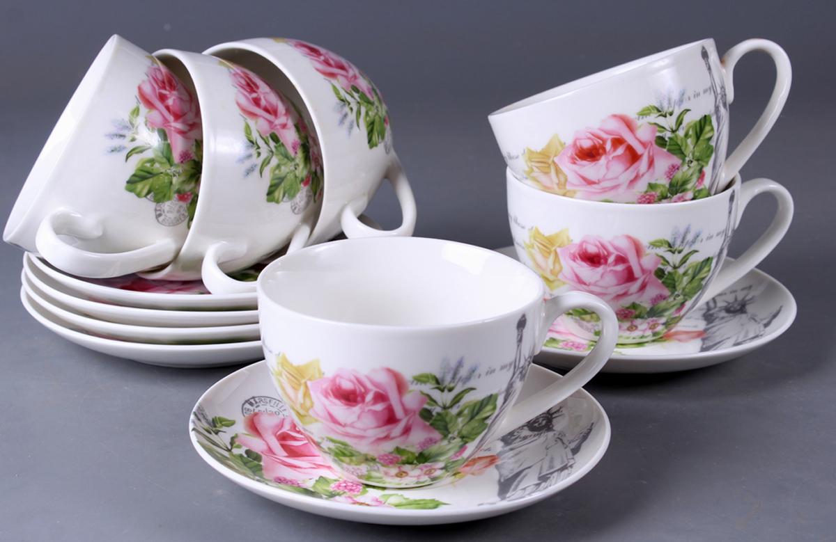 Набор чайный Olaff New Bone China. Цветы, 12 предметов. SC-ZB6HB-026SC-ZB6HB-026Набор чайный, 12 предметов: 6 чашек 220 мл + 6 блюдец, подарочная коробка в форме сердце, цветочный декор