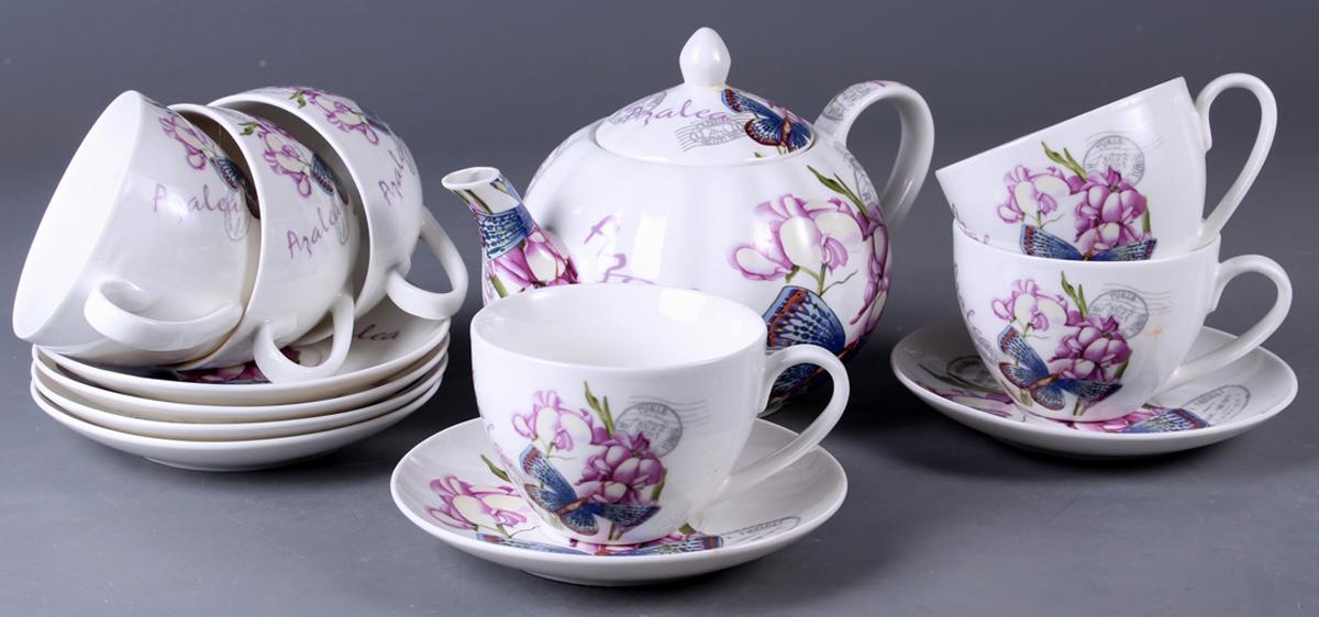 Набор чайный Olaff New Bone China. Цветы, 13 предметов. SC-ZB6SW-023SC-ZB6SW-023Набор чайный, 13 предметов: 6 чашек 220 мл + 6 блюдец + чайник, подарочная коробка с окошком, цветочный декор