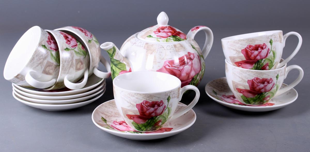 Набор чайный Olaff New Bone China. Цветы, 13 предметов. SC-ZB6SW-024SC-ZB6SW-024Набор чайный, 13 предметов: 6 чашек 220 мл + 6 блюдец + чайник, подарочная коробка с окошком, цветочный декор