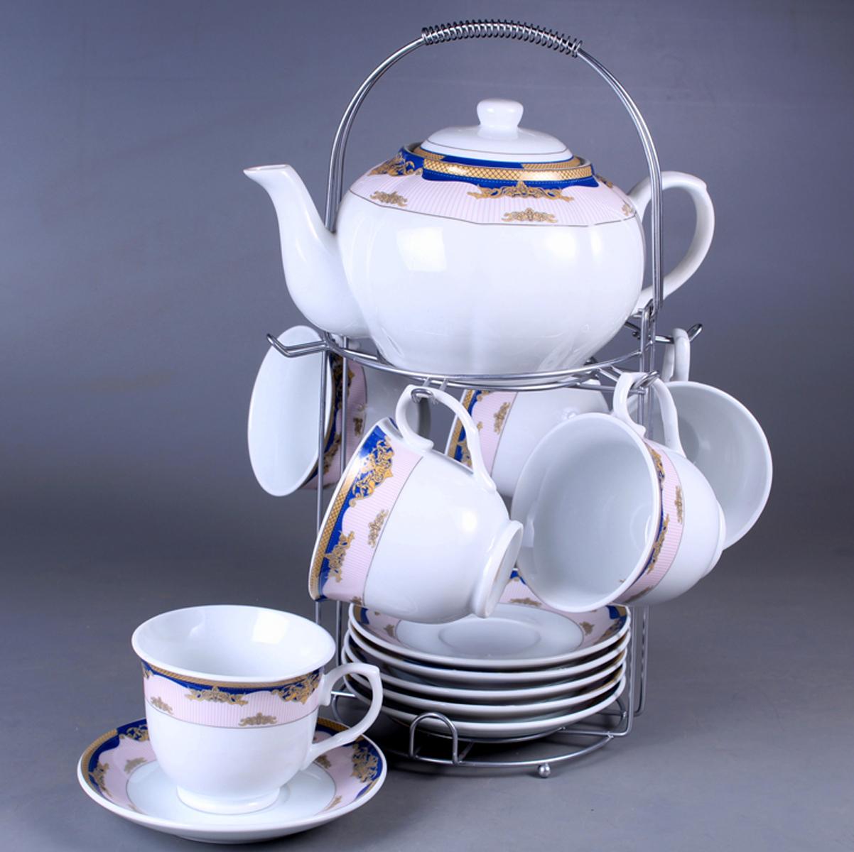 Набор чайный Olaff, на подставке, 13 предметов. SCS-13MS-009SCS-13MS-009Набор чайный, 13 предметов: 6 чашек 220 мл + 6 блюдец + чайник 1200 мл