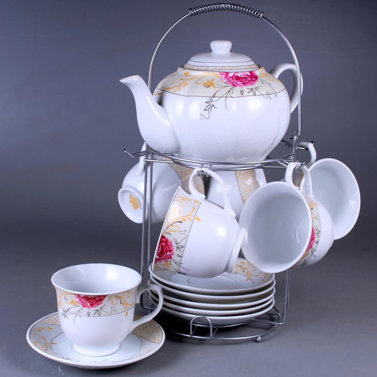 Набор чайный Olaff, на подставке, 13 предметов. SCS-13MS-011SCS-13MS-011Набор чайный, 13 предметов: 6 чашек 220 мл + 6 блюдец + чайник 1200 мл