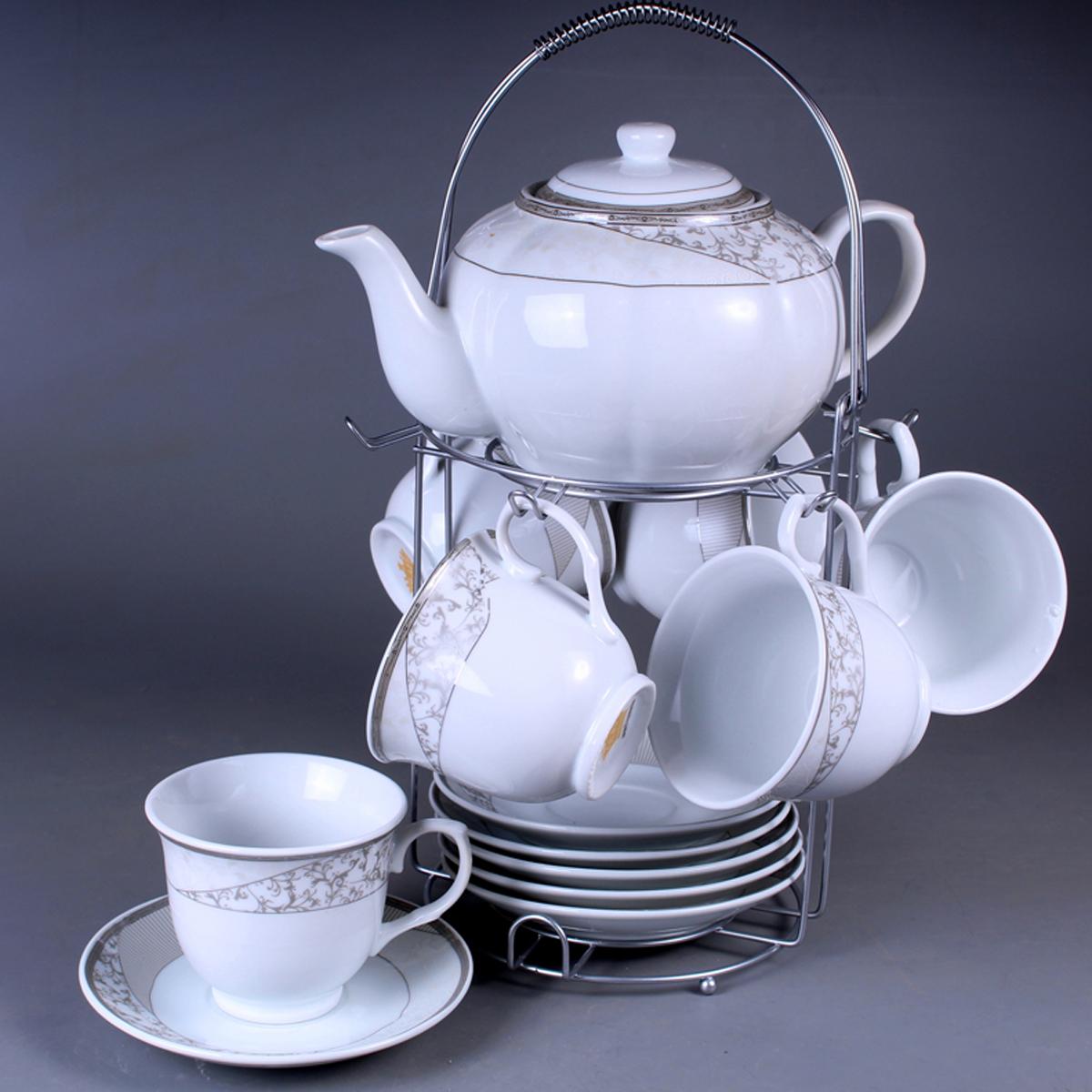 Набор чайный Olaff, на подставке, 13 предметов. SCS-13MS-012SCS-13MS-012Набор чайный, 13 предметов: 6 чашек 220 мл + 6 блюдец + чайник 1200 мл