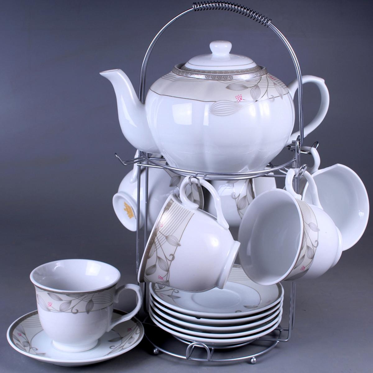 Набор чайный Olaff, на подставке, 13 предметов. SCS-13MS-013SCS-13MS-013Набор чайный, 13 предметов: 6 чашек 220 мл + 6 блюдец + чайник 1200 мл