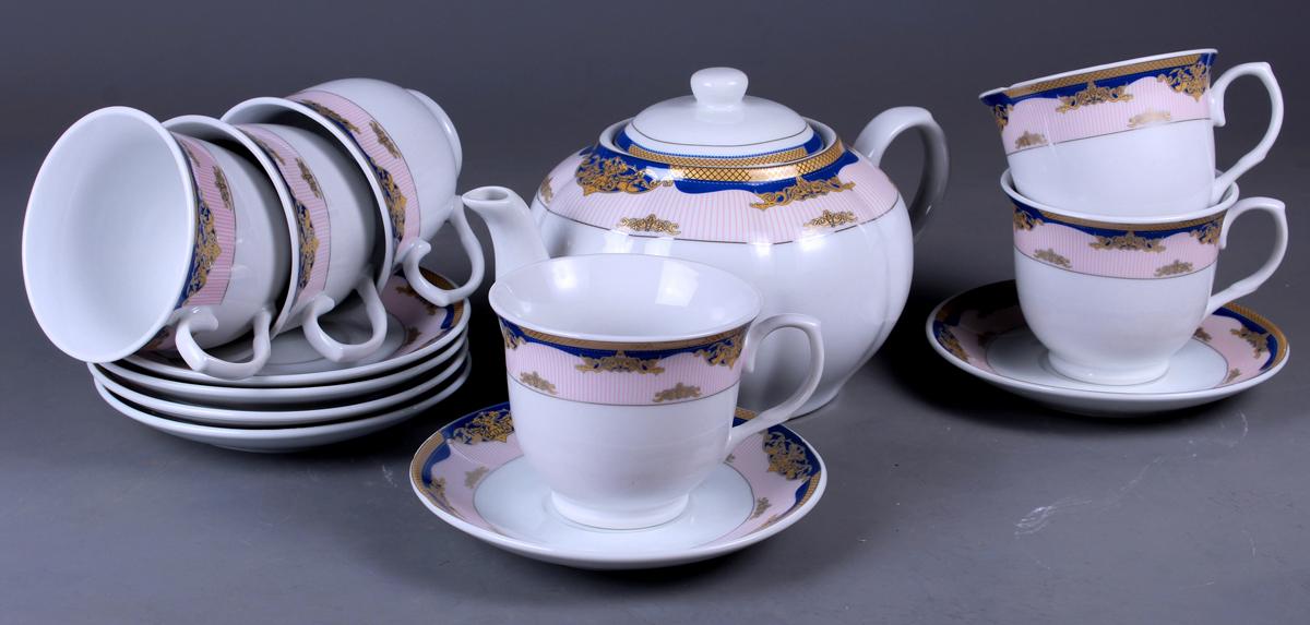 Набор чайный Olaff, 13 предметов. SCS-13QWB-009SCS-13QWB-009Набор чайный, 13 предметов: 6 чашек 220 мл + 6 блюдец + чайник 1200 мл, декор серебро