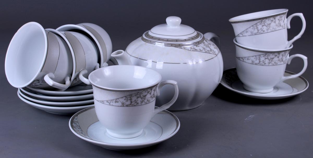 Набор чайный Olaff, 13 предметов. SCS-13QWB-012SCS-13QWB-012Набор чайный, 13 предметов: 6 чашек 220 мл + 6 блюдец + чайник 1200 мл, декор серебро