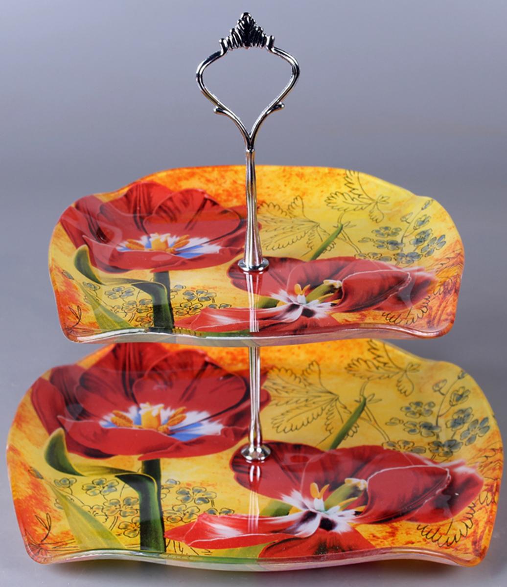 Фруктовница Olaff Цветы, 2 яруса. ZY-MD-ECSE-849ZY-MD-ECSE-849Фруктовница 2-х ярусная, тарелки 21 см + 26 см, форма - квадратная фигурная