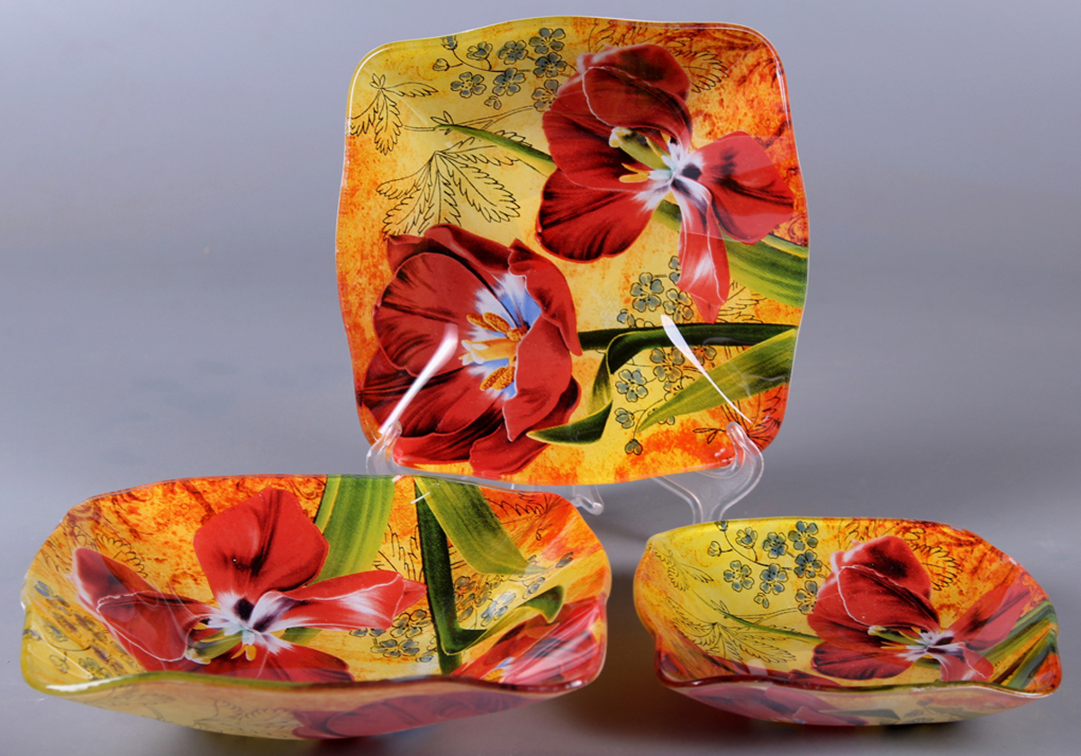 Набор салатников Olaff Цветы, 3 предмета. ZY-MD-TSSEW-849ZY-MD-TSSEW-849Набор 3 салатника 14 см + 18 см + 22 см, форма - квадратная фигурная
