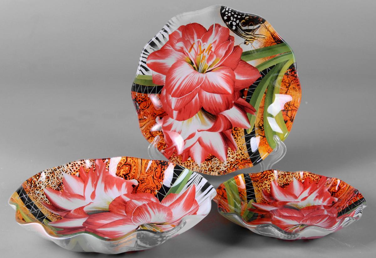 Набор салатников Olaff Цветы, 3 предмета. ZY-MD-TSYBW-794ZY-MD-TSYBW-794Набор 3 салатника 14 см + 18 см + 22 см, форма - круглая фигурная