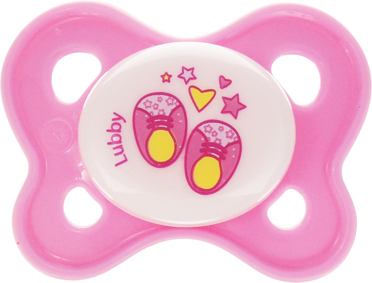 Lubby Пустышка силиконовая Кнопочка Ботиночки от 0 месяцев