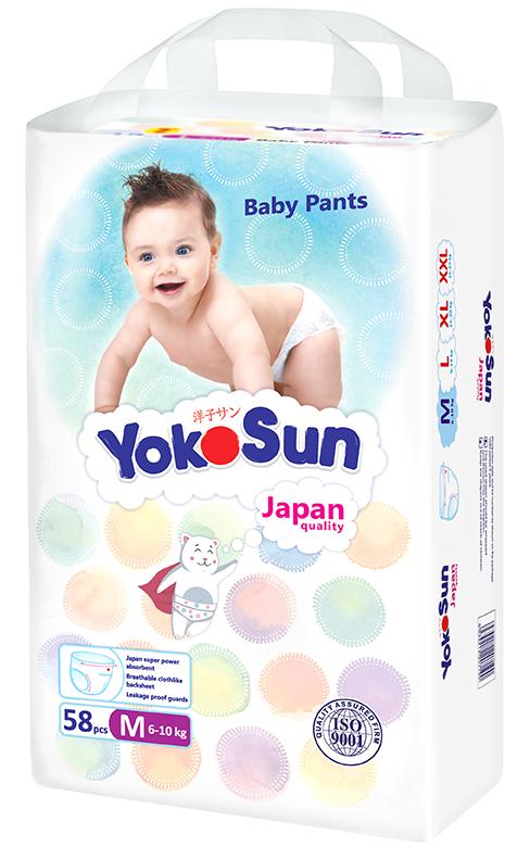 YokoSun Подгузники-трусики M (6-10 кг) 58 шт yokosun подгузники m 5 10 кг 4 х 62 шт