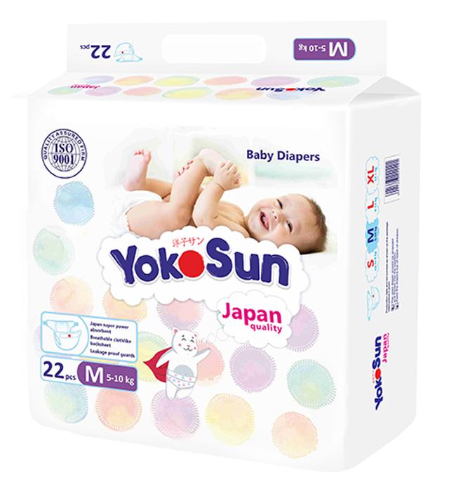 YokoSun Подгузники M (5-10 кг) 22 шт yokosun подгузники m 5 10 кг 4 х 62 шт