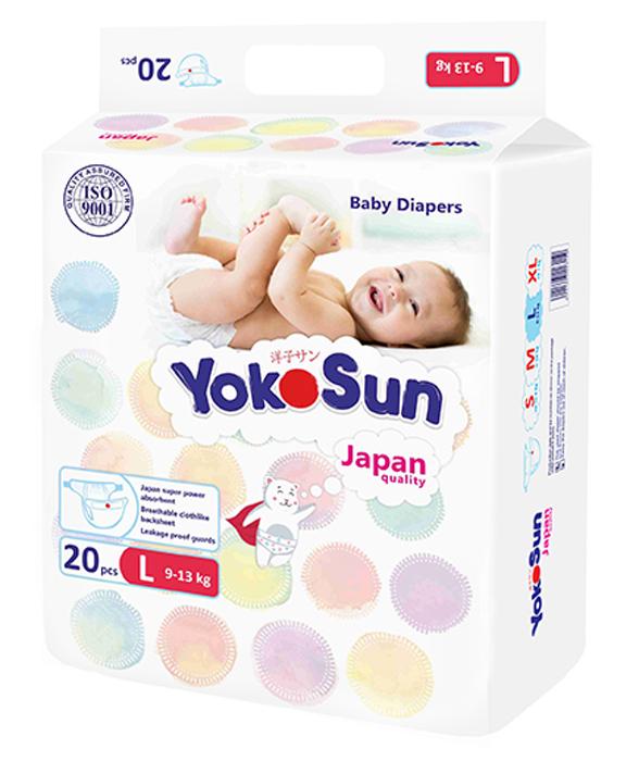 YokoSun Подгузники L (9-13 кг) 20 шт yokosun подгузники m 5 10 кг 4 х 62 шт