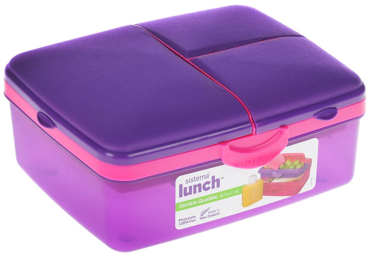 Ланчбокс Sistema Lunch, 4-секционный, с бутылкой, цвет: фиолетовый, розовый, 1,5 л3965_фиолетовый, розовыйКонтейнер Lunch представляет собой контейнер универсального назначения. Он имеет четыре секции, предназначенные для хранения и переноски различных продуктов. На крышке имеется силиконовая прокладка, которая способствует герметичному закрыванию клипсами, которые при необходимости можно заменить. В комплект входит бутылочка, в которую вы можете налить любимый напиток и не есть всухомятку.Преимущества контейнера:- технология герметичности продумана таким образом, что ароматы блюд не испаряются при хранении, при этом каждую емкость легко открыть;- конструкция позволяет долго сохранять свежесть продуктов, не допуская их пересыхания или увлажнения;- предметы изготовлены из пластика, который не содержит бисфенола А и S, фталатов;- изделия безопасны для использования на детской кухне;- можно применять для хранения горячего, замораживания и разогрева пищи в микроволновых печах.Благодаря компактным размерам и относительно большой вместимости контейнер Lunch подойдет для людей, чья жизнь проходит в постоянном движении. Кроме того, вам больше не придется носить с собой сразу несколько контейнеров.Можно мыть в посудомоечной машине.Общий размер контейнера: 23 х 16 х 9 см.Объем контейнера: 1,5 л.Размер бутылки: 11,5 х 9 х 4 см.