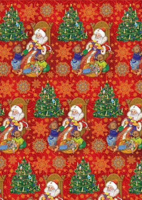 Упаковочная бумага Magic Time Дед мороз и два медвежонка, мелованная, 100 х 70 см украшение новогоднее оконное magic time дед мороз на тройке 54 х 21 см