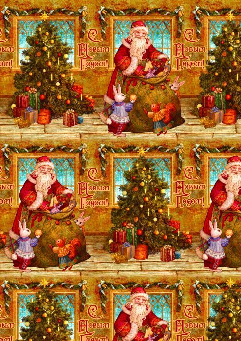 Упаковочная бумага Magic Time Дед мороз и зайчики, мелованная, 100 х 70 см украшение новогоднее оконное magic time дед мороз на тройке 54 х 21 см