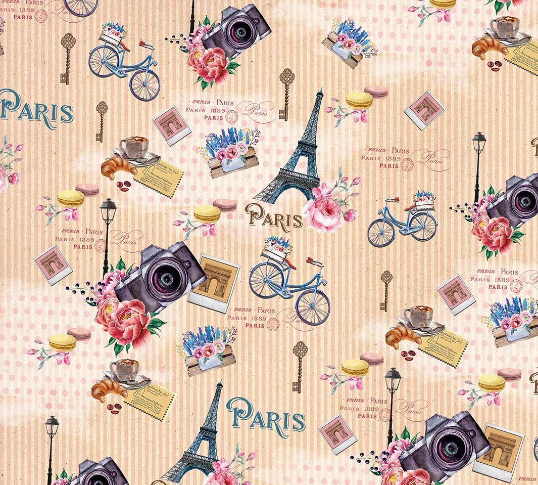 Упаковочная бумага Magic Home Прогулка по Парижу, мелованная, 100 х 70 см бумага упаковочная magic home желтые тюльпаны мелованная 100 х 70 см