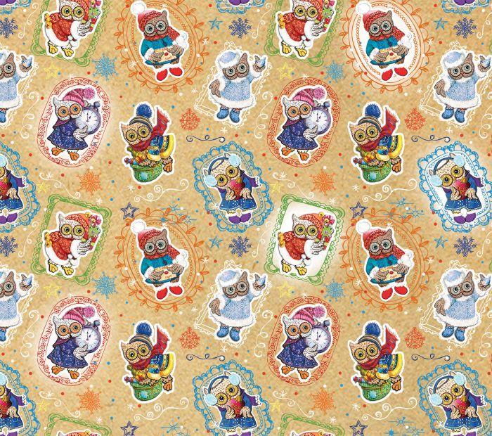Крафт бумага Magic Time Новогодние совы, немелованная, 100 х 70 см75209Крафт бумага для сувенирной продукции НОВОГОДНИЕ СОВЫ от Magic Time - это стильный и практичный вариант упаковки подарка. Авторский дизайн, красочное изображение, тематический рисунок - все слагаемые оригинального оформления подарка. Окружите близких людей вниманием и заботой, эффектно вручив презент в нарядном, праздничном оформлении.