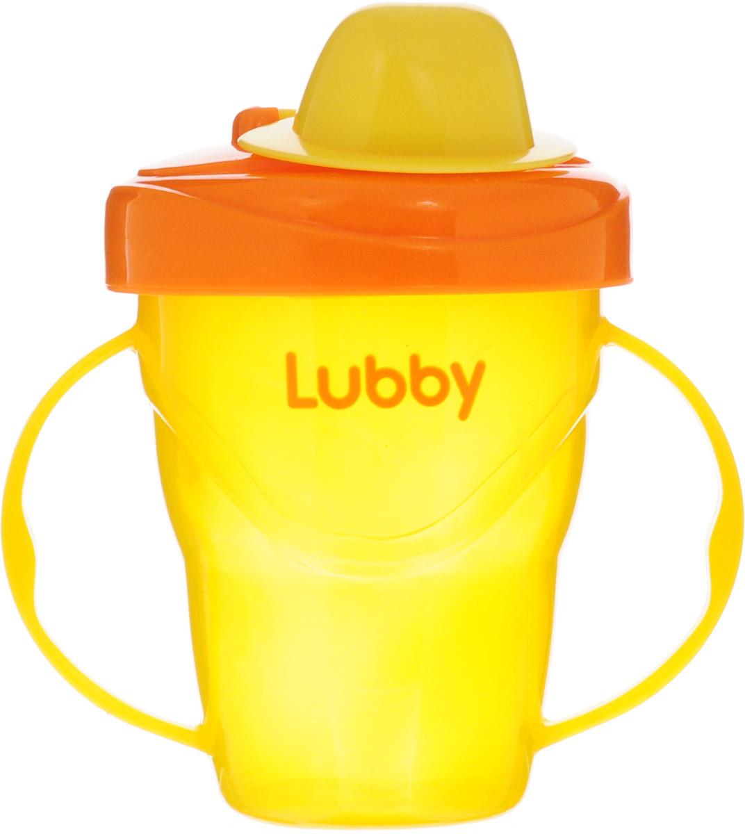 Lubby Поильник-непроливайка Классика от 6 месяцев цвет оранжевый желтый 175 мл lubby поильник с ручками just от 6 мес 180 мл lubby оранжевый