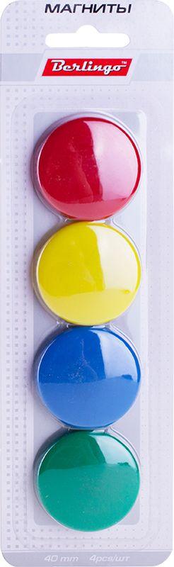 Berlingo Магнит для досок 4 см 4 штSMm_04010Набор фиксирующих магнитов для магнитно-маркерных досок, в разноцветной пластиковой оболочке. Диаметр 4 см, количество - 4 шт.Блистерная упаковка с европодвесом.