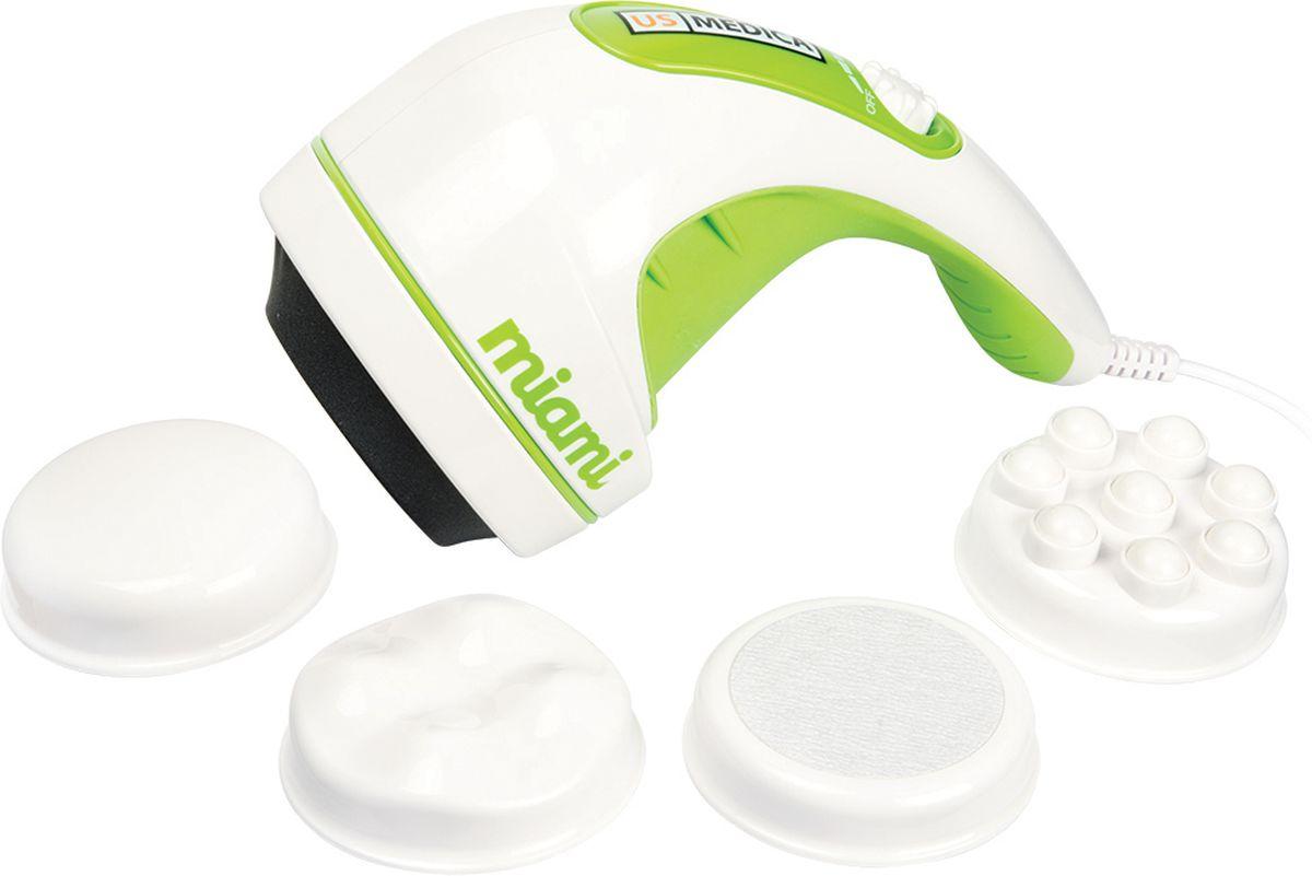 US Medica Антицеллюлитный массажер Miami NE203Волнистая насадка воздействует на глубокие слои кожи, способствует сжиганию подкожного жира, улучшает лимфа-ток и активизирует обменные процессы, позволяя уменьшить проявления целлюлита.В комплекте идут сменные насадки: антицеллюлитная, для расслабления мышц, для тонизирующего массажа, для пилинга.Скорость воздействия регулируется, максимальная скорость до 2990 об/мин.Варианты использования: профилактика и лечение целлюлита, борьба с жировыми отложениями, забота о красоте и гладкости кожи, вибромассаж, пилинг.Регулируемая скорость воздействияМассируемая область: преимущественно бедра и ягодицы, а также любая часть телаДополнительная защитная крышка-сеткаРабота от сети переменного тока 220 В