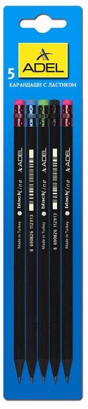 Adel Карандаш чернографитовый BlackLine с ластиком 5 шт202-1129-000/5Чернографитовый карандаш Adel BlackLine с ластиком станет незаменимым атрибутом для учебы или работы.В набор входят 5 заточенных карандашей круглой формы, изготовленных из черного дерева.Прочный грифель не крошится, не оставляет неряшливых и неопрятных следов, не пачкает руки.