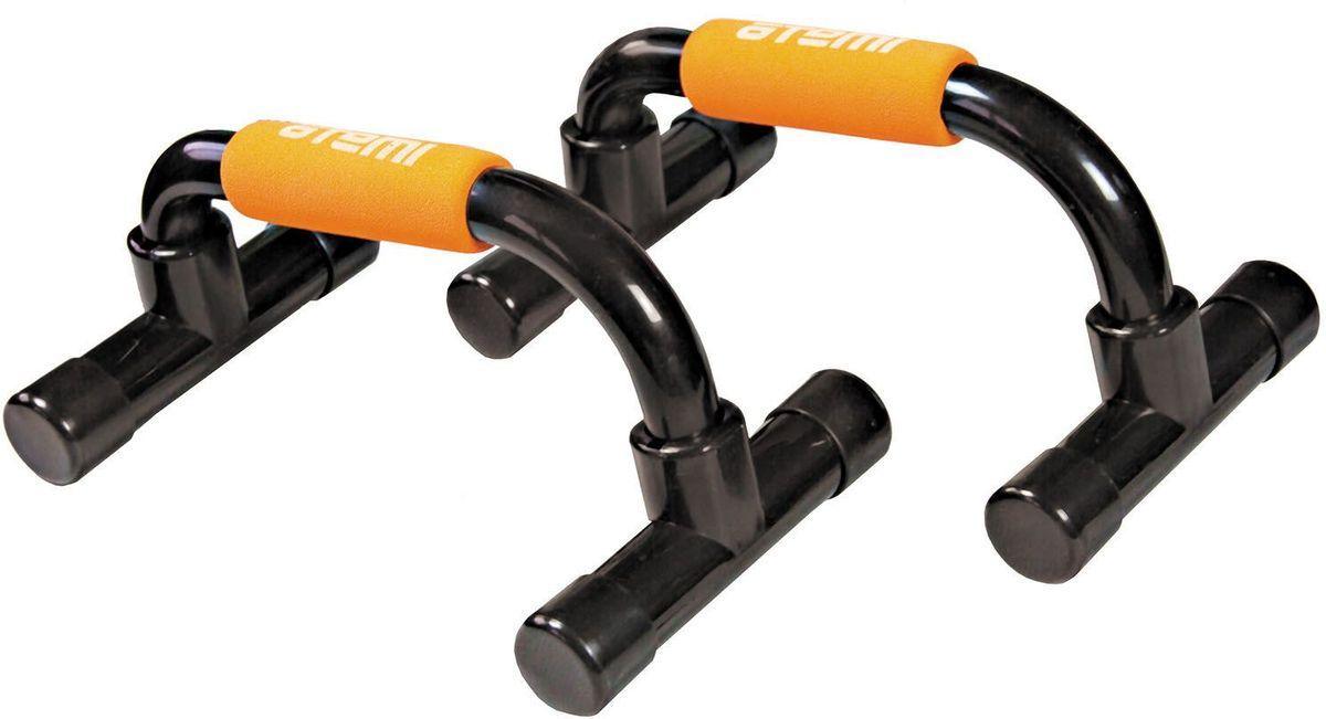 Упоры для отжиманий Atemi, пластик, цвет: черный, оранжевый, 2 штAPU-01Упоры для отжиманий Atemi - эффективный инструмент, позволяющий развивать и укреплять мышцы рук, груди и плечевого пояса. Повышает мышечную выносливость.Изготовлены из прочного пластика, для удобства тренировок имеются мягкие ручки.
