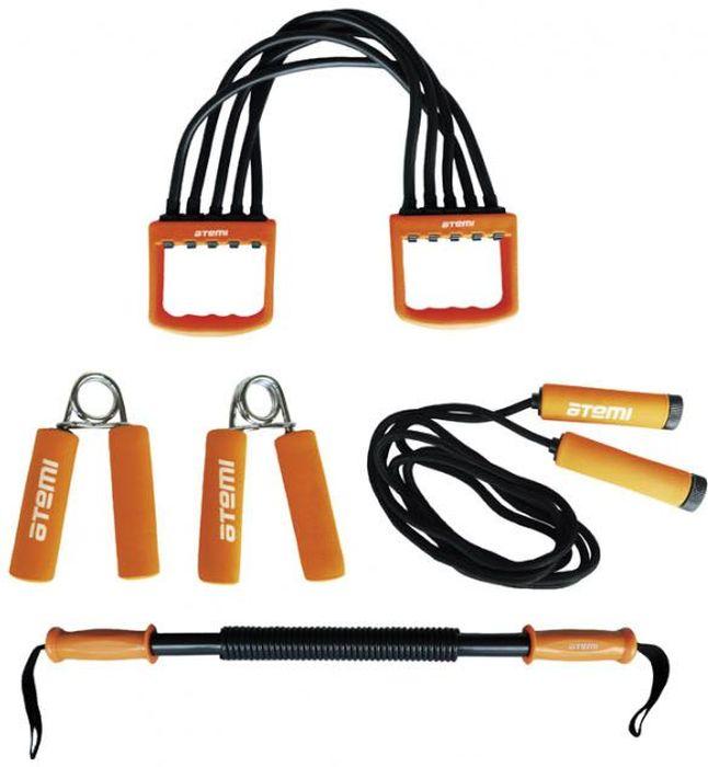 Набор эспандеров Atemi, цвет: оранжевый, 5 предметовATS-01Набор эспандеров Atemi можно использовать для занятий дома и в спортивном зале. Это отличный вариант для тех, кто хочет во время самостоятельных тренировок гармонично развить все основные группы мышц. В набор входят 5 предметов:два кистевых эспандера с ручками из неопрена, укрепляющие мышцы рук, запястья и пальцы.Грудной эспандер Power Bender, длиной 65 см, который помогает тренировать мышцы рук и груди, оснащен пластиковыми ручками и текстильными петлями.Грудной эспандер с пятью прочными пружинами, помогающий развить верхние и нижние мышцы тела.Скакалка с неопреновыми ручками и толстым тросом - прекрасный тренажер для укрепления мышц ног.