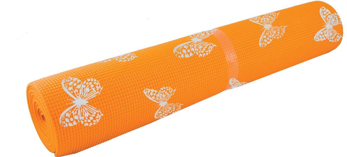 Коврик для йоги Atemi, с рисунком, цвет: оранжевый, 173 х 61 х 0,4 эспандер грудной atemi цвет оранжевый черный 2 х 2 х 65 см
