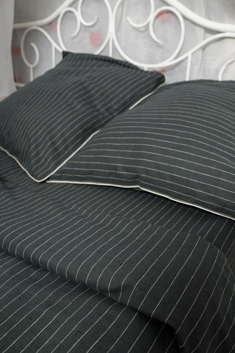 Комплект белья Гаврилов-Ямский Лен, 1,5-спальный, наволочки 70x70, цвет: черный. 802