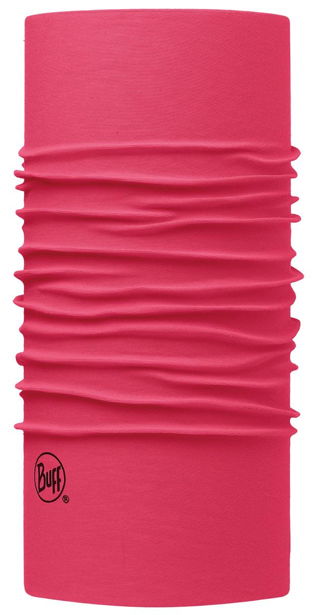 Шарф Buff Original Solid Wild Pink, цвет: розовый. 113000.540.10.00. Размер универсальный113000.540.10.00Buff - это оригинальные, мультифункциональные, бесшовные головные уборы - удобные и комфортные для любого вида активного отдыха и спорта. Оригинальные, потому что Buff был и является первым в мире брендом мультифункциональных, бесшовных и универсальных головных уборов. Мультифункциональные, потому что их можно носить самыми разными способами: как шарф, как шапку, как балаклаву, косынку, бандану, маску, напульсник и многими другими - решает ваша фантазия! Универсальный головной убор, который можно носить более чем двенадцатью способами, который можно использовать при занятии любым видом спорта, езде на велосипеде и мотоцикле, катаясь или бегая на лыжах, и даже как аксессуар в городской одежде. Бесшовные, благодаря эластичности, позволяющей использовать эти головные уборы как угодно и не беспокоиться о том, что кожа может быть натерта или раздражена швами.